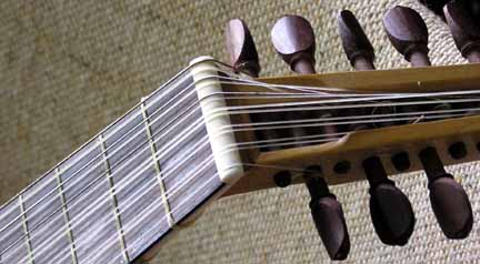 nut of a 7-course lute